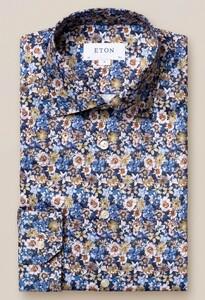 Eton Fantasy Floral Signature Twill Overhemd Blauw