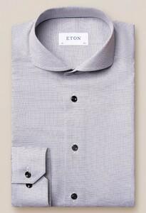 Eton Faux Uni Twill Overhemd Grijs-Wit