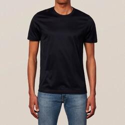 Eton Filo di Scozia Cotton T-Shirt T-Shirt Donker Blauw Melange