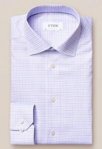 Eton Fine 3 Color Check Overhemd Lavendel Blauw