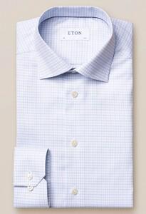 Eton Fine 3 Color Check Overhemd Lichtgrijs-Blauw
