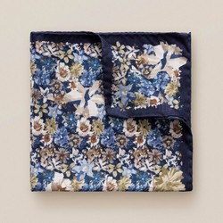 Eton Fine Floral Pochet Blue-Navy-Beige