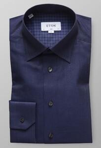 Eton Fine Herringbone Flannel Fine Twill Overhemd Midden Blauw