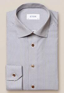 Eton Fine Pattern Cutaway Overhemd Geel-Blauw