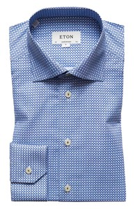 Eton Fine Structured Fantasy Shirt Deep Blue Melange