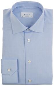 Eton Fine Twill Check Uni Overhemd Licht Blauw