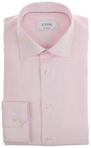 Eton Fine Twill Check Uni Overhemd Roze