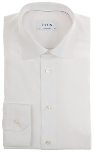 Eton Fine Twill Check Uni Overhemd Wit