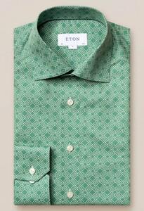 Eton Fine Twill Double E Logo Overhemd Jade Green