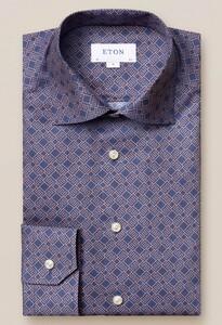 Eton Fine Twill Double E Logo Overhemd Navy