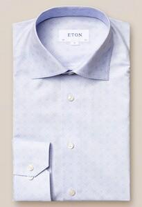 Eton Fine Twill Double E Logo Overhemd Pastel Blauw
