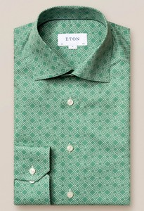 Eton Fine Twill Double E Logo Shirt Jade Green