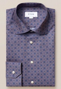 Eton Fine Twill Double E Logo Shirt Navy