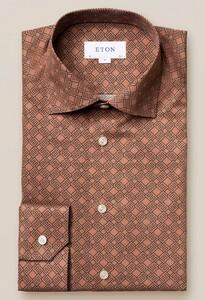 Eton Fine Twill Double E Logo Shirt Nougat