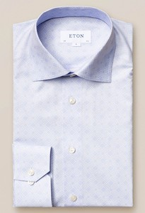 Eton Fine Twill Double E Logo Shirt Pastel Blue