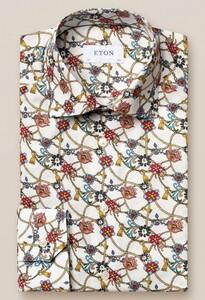 Eton Fine Twill Floral Cord Pattern Overhemd Wit-Rood
