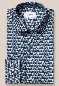 Eton Fine Twill Glassblower Pattern Overhemd Donker Blauw