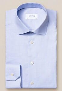 Eton Fine Twill Micro Check Overhemd Licht Blauw