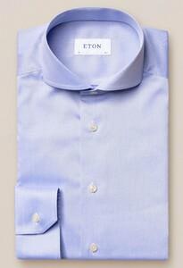 Eton Fine Twill Uni Overhemd Blauw