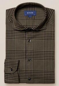 Eton Flanel Check Overhemd Donker Groen
