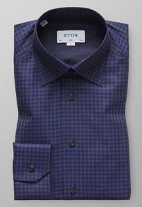 Eton Flannel Fine Twill Overhemd Donker Blauw