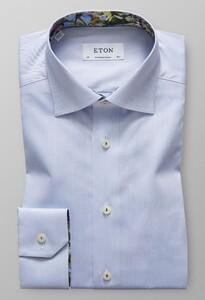 Eton Floral Contrast Uni Overhemd Licht Blauw