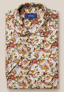 Eton Floral Fantasy Linnen Overhemd Oranje-Multi