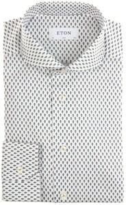 Eton Flower Pattern Twill Shirt White