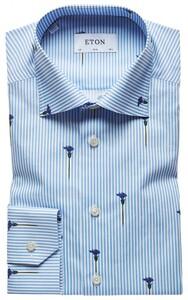 Eton Flowered Beam-Line Overhemd Licht Blauw