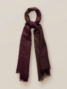 Eton Fringed Wool Sjaal Burgundy-Brown