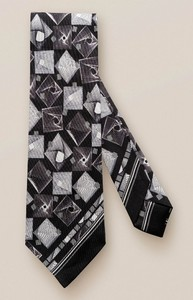 Eton Geometric Contrast Tie Black