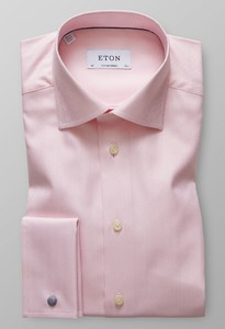 Eton Herringbone French Cuff Shirt Pink