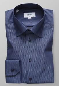 Eton Herringbone Signature Twill Overhemd Donker Blauw