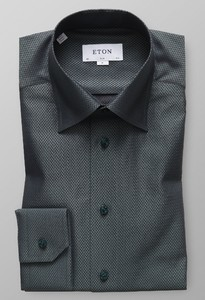 Eton Herringbone Signature Twill Overhemd Donker Groen
