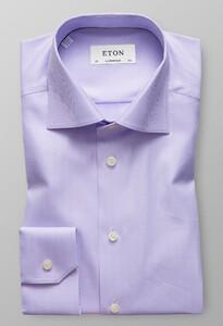 Eton Herringbone Signature Twill Overhemd Paars Melange