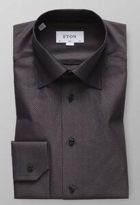 Eton Herringbone Signature Twill Shirt Brown