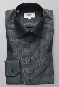 Eton Herringbone Signature Twill Shirt Dark Green