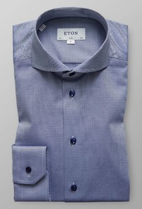 Eton Herringbone Signature Twill Shirt Navy