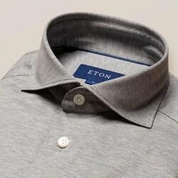 Eton Jersey Uni Overhemd Licht Grijs