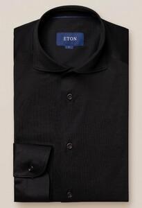 Eton Jersey Uni Overhemd Zwart