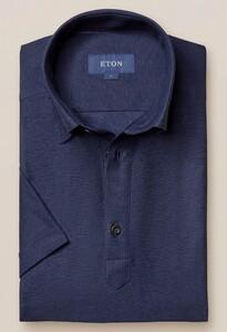Eton Katoen Linnen Poloshirt Polo Donker Blauw Melange