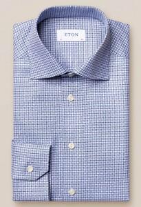 Eton King Twill 3D Plaid Overhemd Navy