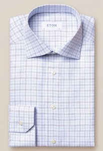 Eton King Twill Multi Plaid Overhemd Blauw