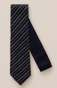 Eton Knitted Cotton Stripe Tie Navy