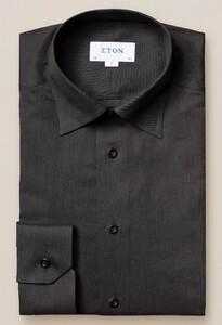 Eton Licht Flanel Contrast Overhemd Zwart