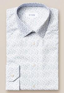 Eton Lightweight Flanel Floral Overhemd Wit