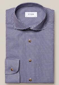 Eton Lightweight Flannel Check Pattern Shirt Dark Navy