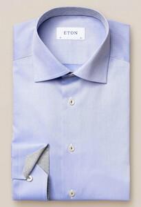 Eton Lightweight Twill Uni Details Overhemd Blauw