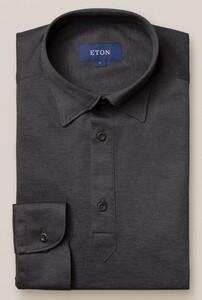 Eton Long Sleeve Button Under Polo Shirt Polo Donker Grijs