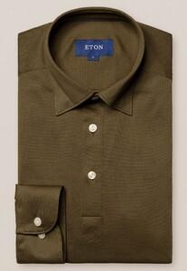 Eton Long Sleeve Piqué Polo Button Under Polo Groen